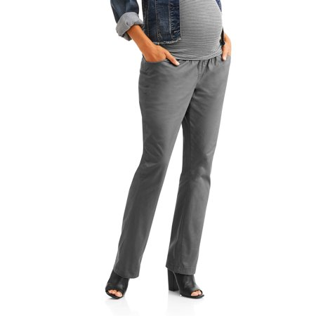 Navy Cord Pants - Maternity Four Pocket Demi-Panel Career Pants