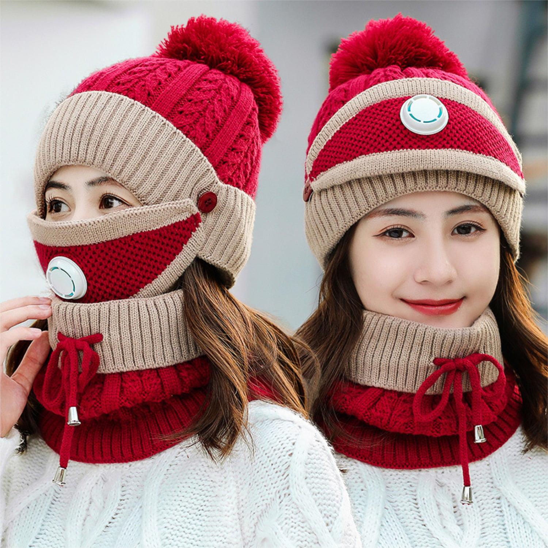 3 IN 1 Kids Winter Knitted Hats Scarf Mask Set Warm Fleece Beanie Cap Boys Girls