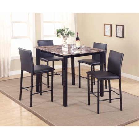 - 5-Piece Counter Height Dinette, Black/Brown