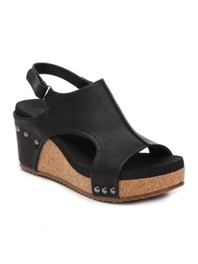 dbd1f4fc9ae05 Product Image Corkys Womens Carley Wedge Heel Sandals (Black