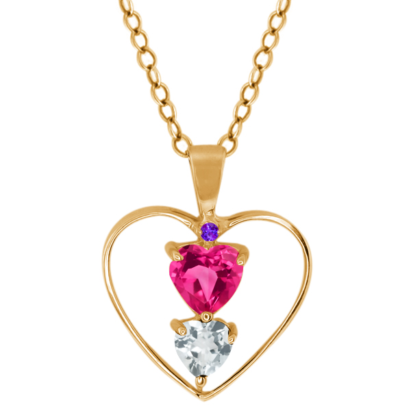 0.87 Ct Heart Shape Pink Mystic Topaz Sky Blue Topaz 14K Yellow Gold Pendant by