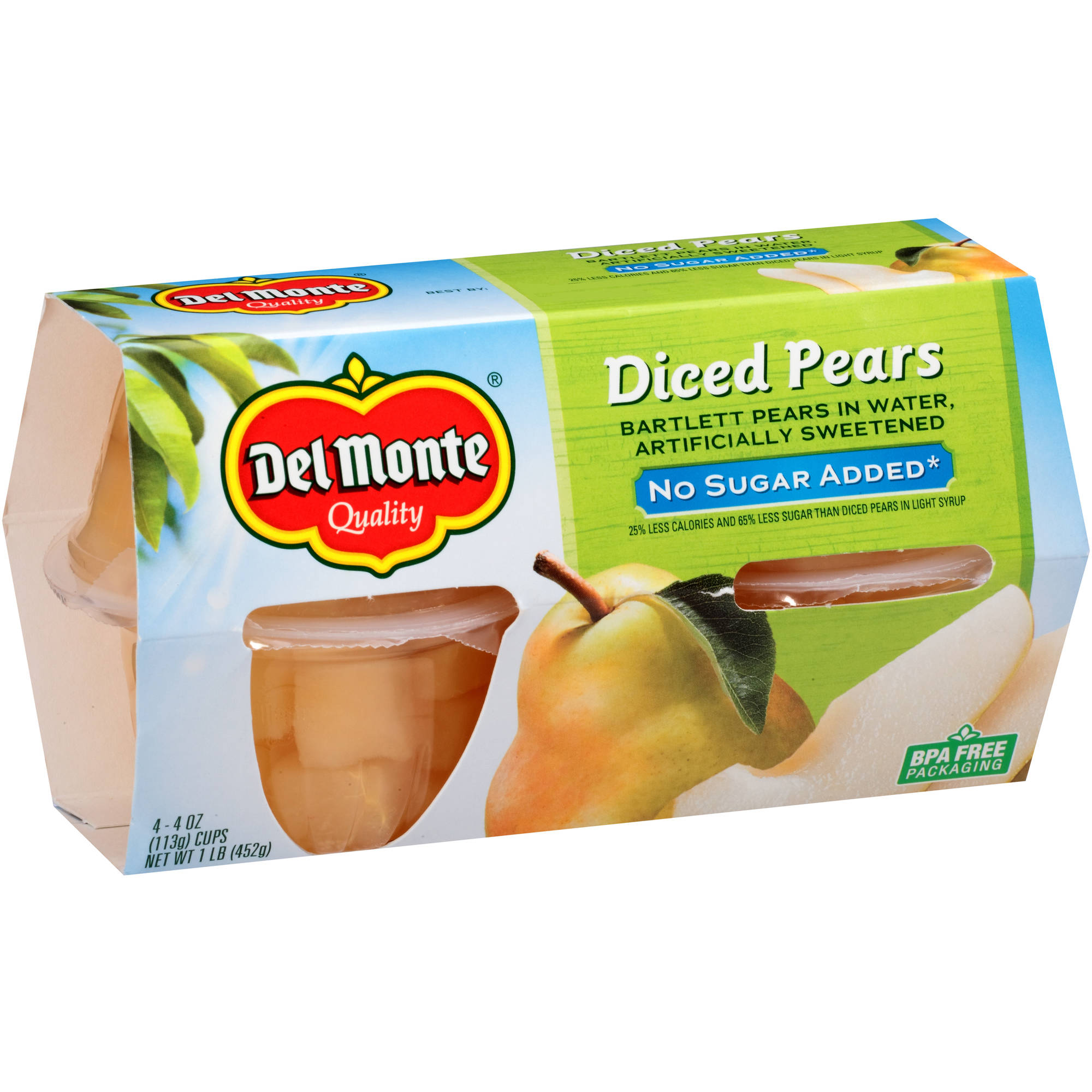Del Monte No Sugar Added Diced Pears Bartlett Pears in Water, 4 oz, 4 count