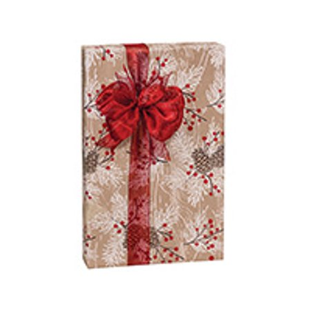 Kraft Red Berries and White Pine Woodland Berry Pine Holiday /Christmas Gift Wrapping Paper 16ft