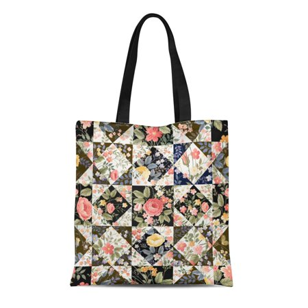 LADDKE Canvas Tote Bag Floral Patchwork Pattern Flowers Rose Summer White Black Monochrome Durable Reusable Shopping Shoulder Grocery Bag ()