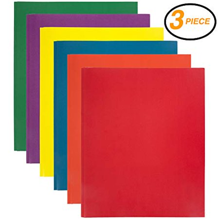 Emraw 2 Pocket with Three Prong Fastener File Portfolio Folder (Colors may vary) – Used for Papers, Loose-Leafs, Business Cards, Compact Discs, Etc. (3-Pack)