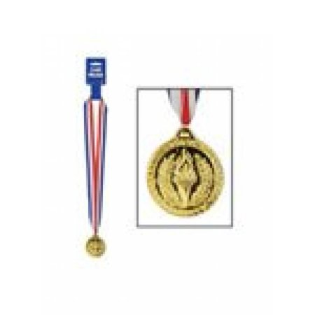 Gold Medal w/Ribbon Party Accessory (1 count)