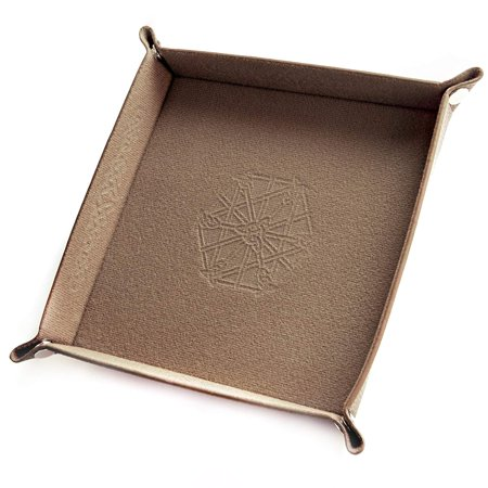 Collapsible Bicast Leather & Felt Folding Dice Holder Rolling Tray with Snaps for DnD, Tabletop Games, & Storage, LET IT ROLL: Drop your dice and let 'em roam.., By Wiz - Dice Rolling Box