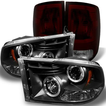 - Fit 09-18 Ram 1500 10-18 2500/3500 Black LED Halo Headlights +Dark Red Tail Lamp