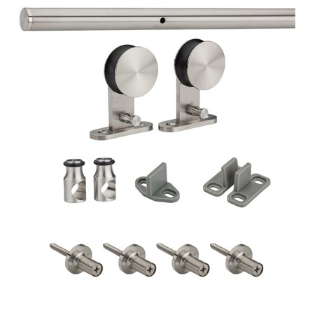 "National Hardware N186-962 72"" X 6"" Stainless Steel Decorative Interior Sliding Door Hardware Kit"