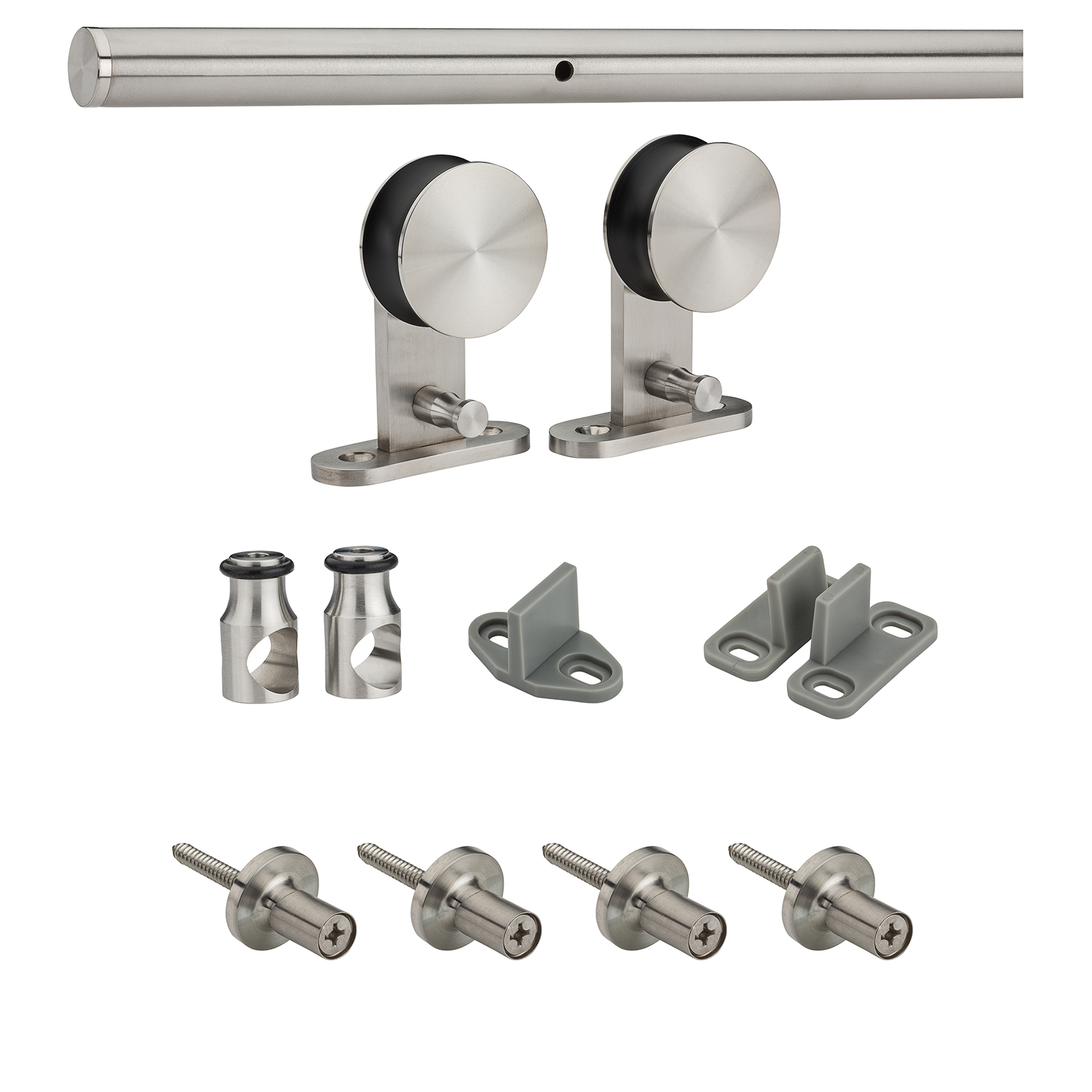 "National Hardware N186-962 72"" X 6"" Stainless Steel Decorative Interior Sliding Door Hardware Kit"