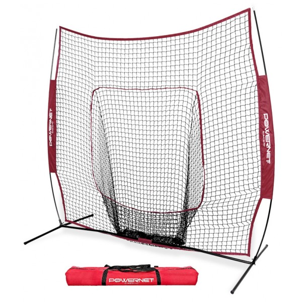 PowerNet Team Color MAROON Baseball Softball 7x7 Hitting Net w/ bow frame (LIFETIME WARRANTY)