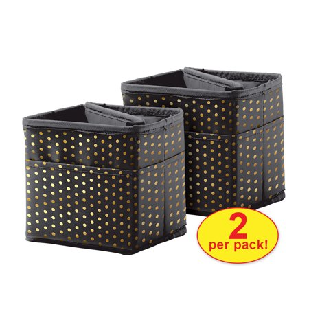 Carson Dellosa CD-158183 Tabletop Storage - Black with Gold Polka Dots Pocket Chart Storage - The Purple Polka Dot
