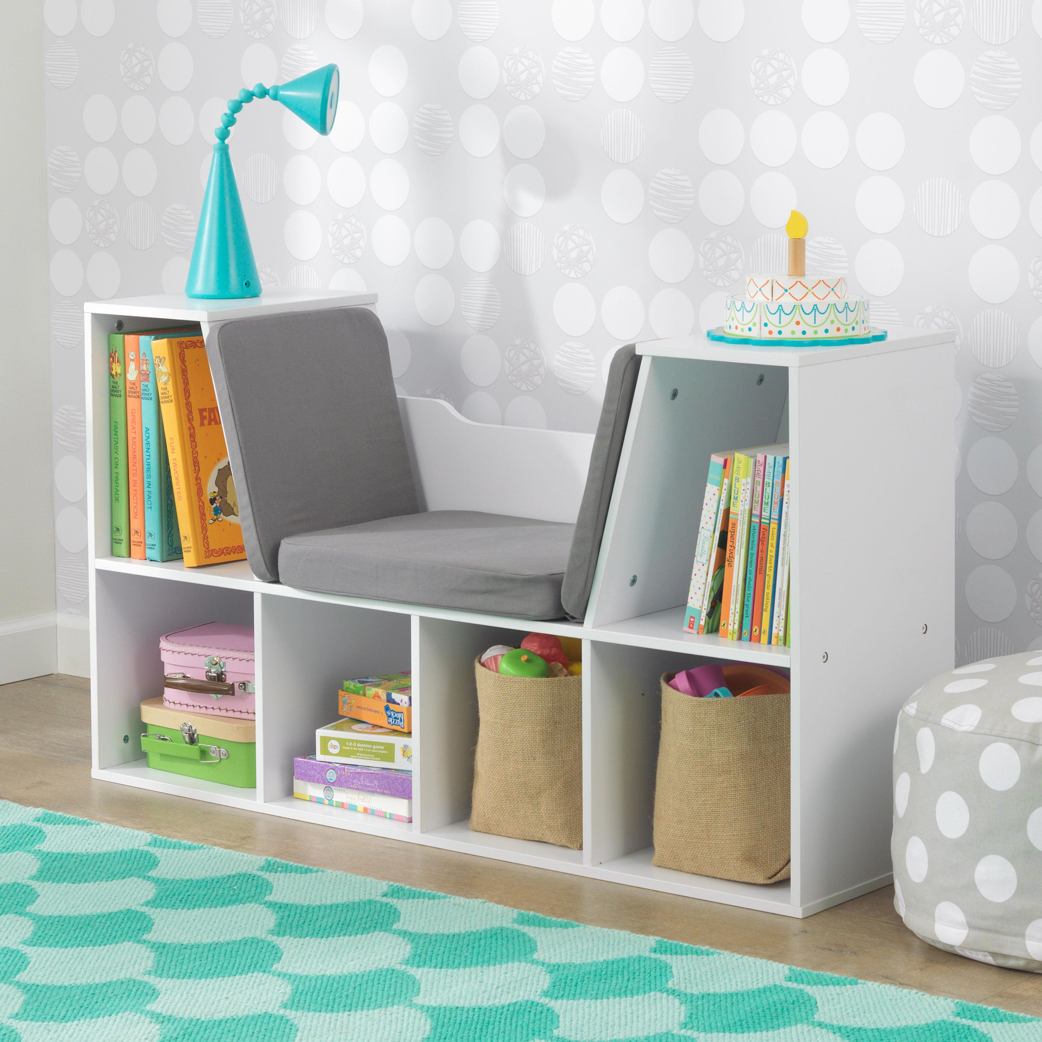 KidKraft Kids Bookshelf with Reading Nook, Multiple Colors