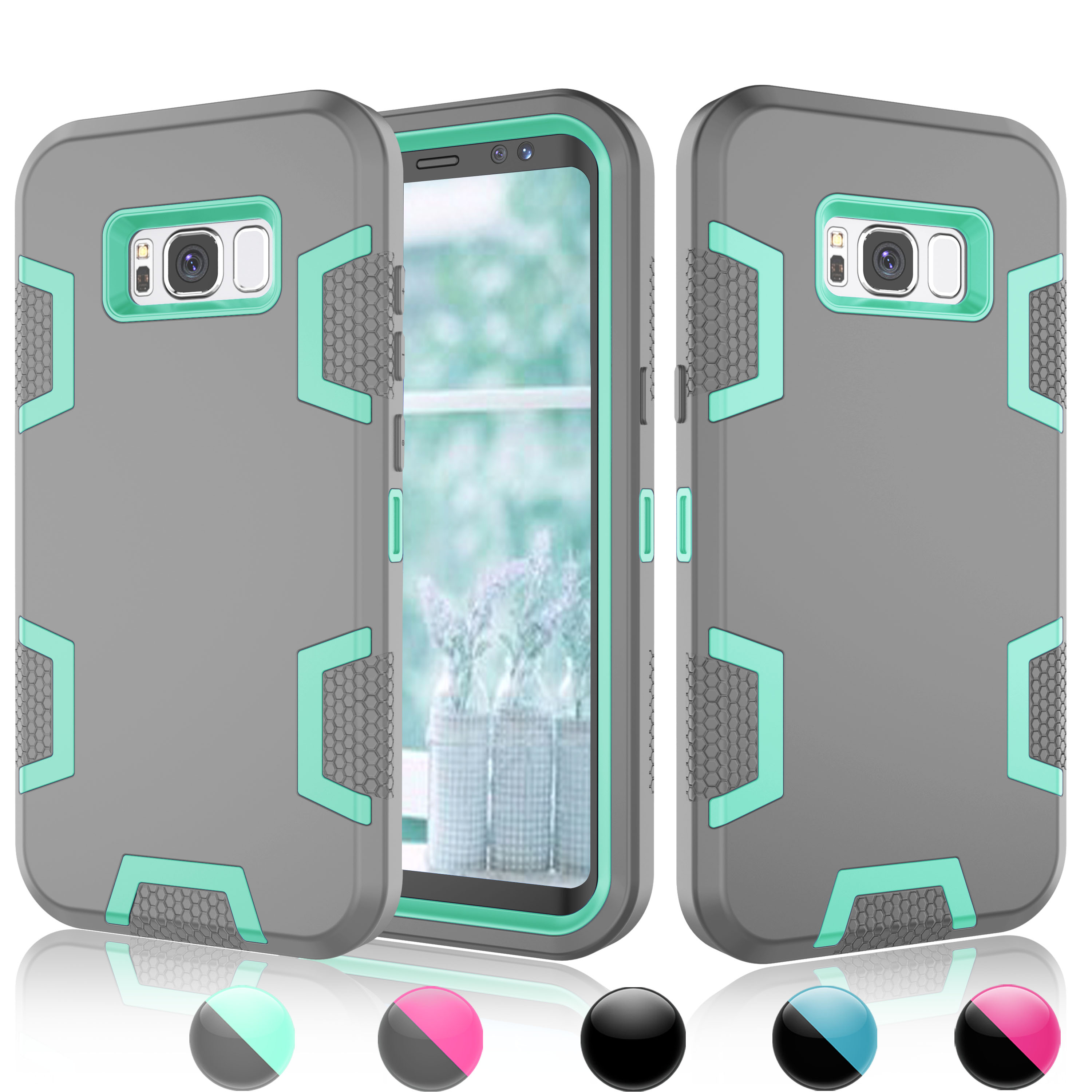 Cases For Samsung Galaxy S8 Plus / S8, Njjex [Turquoise] Hybrid Shock Absorbing Shock Dust Dirt Proof Defender Rugged Full Body Hard Cases Shell