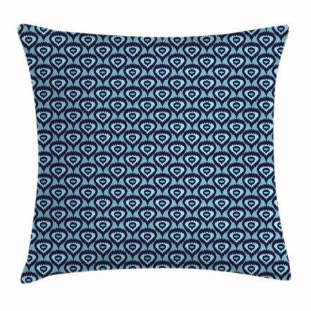 Ikat Throw Pillow Cushion Cover, Bohemian Ethnic Pattern Abstract Geometric Elements Soft Peacock Tail Pattern, Decorative Square Accent Pillow Case, 20 X 20 Inches, Pale Blue Dark Blue, by Ambesonne