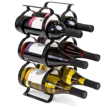 Best Choice Products 6-Bottle Secure Steel Countertop Wine Rack Storage w/ Built-In Handles - Black