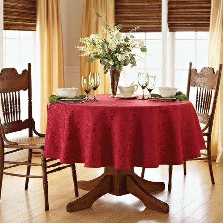 Better Homes And Gardens Paisley Damask Tablecloth Red