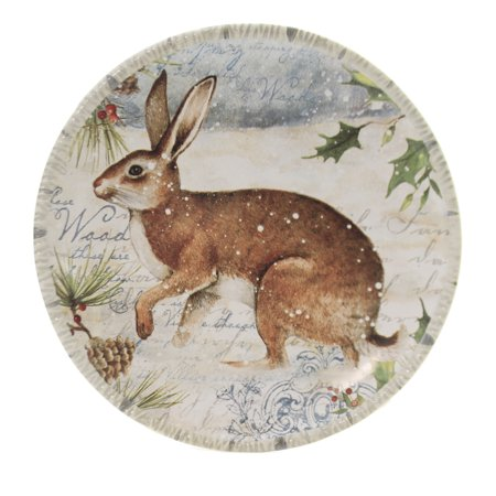 Tabletop WINTER LODGE CANAPE PLATE Ceramic Snow Christmas Rabbit 32231 Rabbit