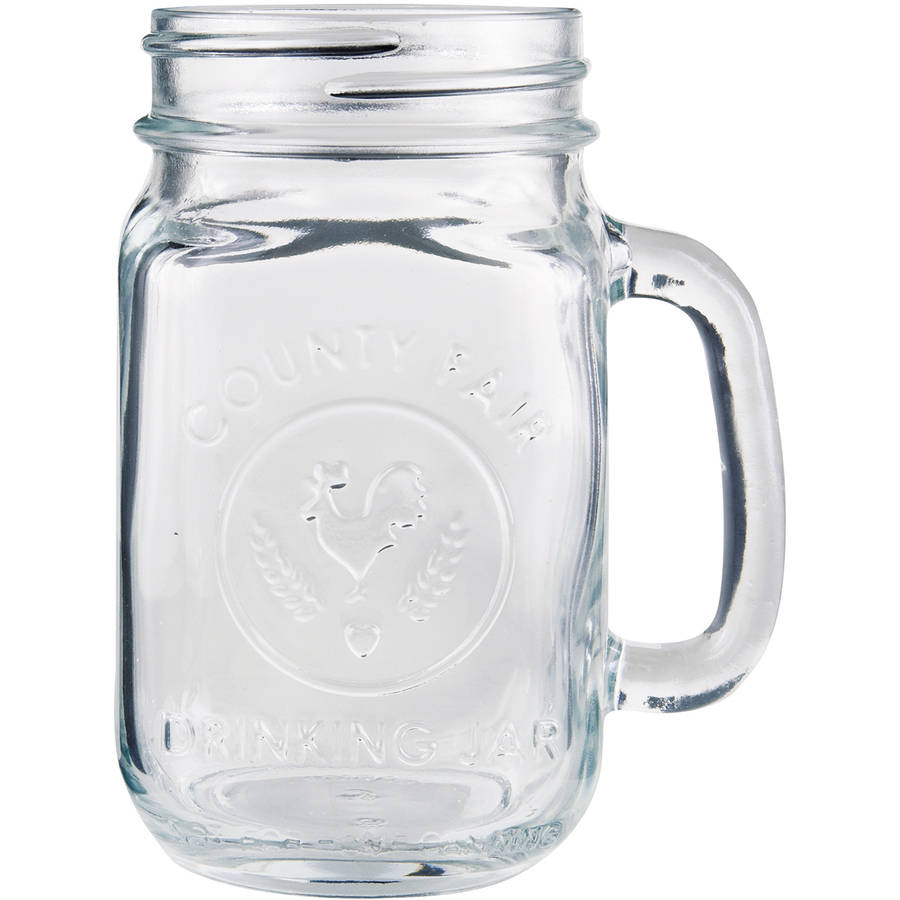 Libbey Clear Glass Drinking Jars, 16.5 oz, (Pack of 12)