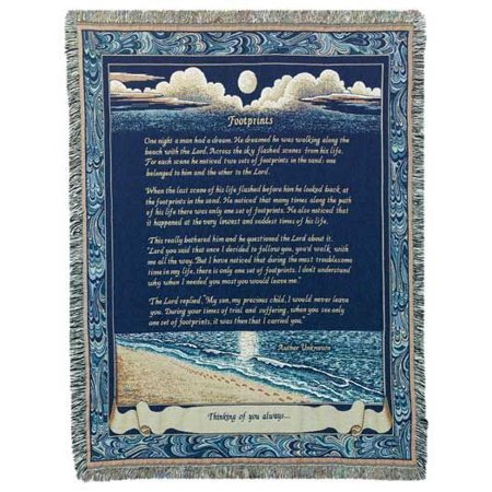 Footprints Deluxe Woven Inspirational Tapestry Throw (Woven Tapestry Nfl Throw Blanket)