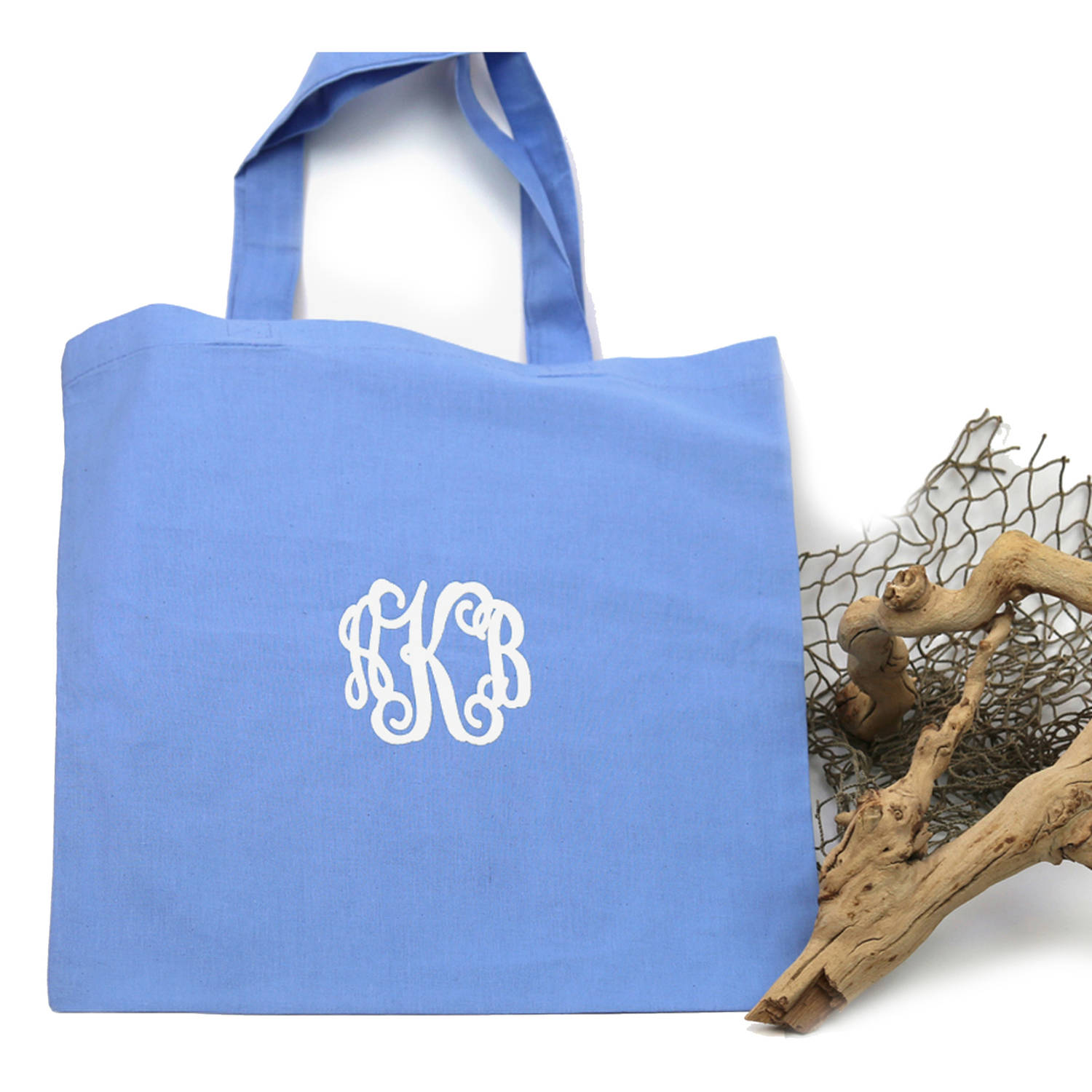 """Personalized Monogram Cotton Tote Bag, Sizes 11"""" x 14"""" and 14.5"""" x 18"""""""