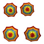 Carved Wood Beach Umbrellas Multi Stripe Napkin Rings Set of 4