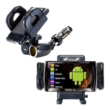Dual USB / 12V Charger Car Cigarette Lighter Mount and Holder for the  Archos 5 5g (all GB Sizes)