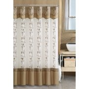 VCNY Home Daphne Embroidered Sheer & Taffeta Fabric Shower Curtains - (Beige/Gold)