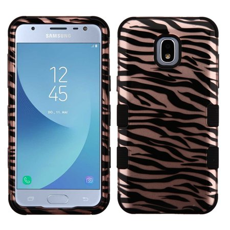 TUFF Hybrid Series Phone Protector Cover Case and Atom Cloth for Samsung Galaxy Express Prime 3 (AT&T) - Zebra Stripes Pink