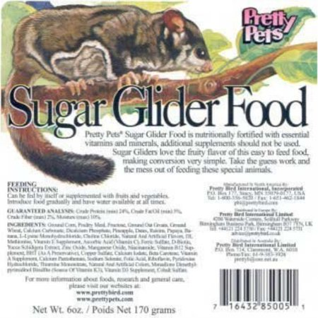 - Pretty Bird International Sugar Glider Food for Birds, 12-Ounce