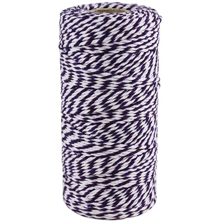 Just Artifacts ECO Bakers Twine 110yd 12Ply Striped Royal Purple - Decorative Bakers Twine for DIY Crafts and Gift (Bakers Twine Set)
