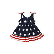 Xingqing Baby Girls Dress, Patriotic Stars Stripes Sleeveless Bowknot Independence Day Dress