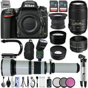 "Nikon D750 24.3MP 1080P FX DSLR Camera w/ 3.2"" LCD- GPS Ready- 5 Lens Kit- Nikon 50mm 1.8D- Nikon AF-S 55-300mm 4.5-5.6G VR Lens- - Opteka 650-2600mm Lens- 64GB SD- ITTL AF Flash- 24 PC Ultra Zoom Kit"