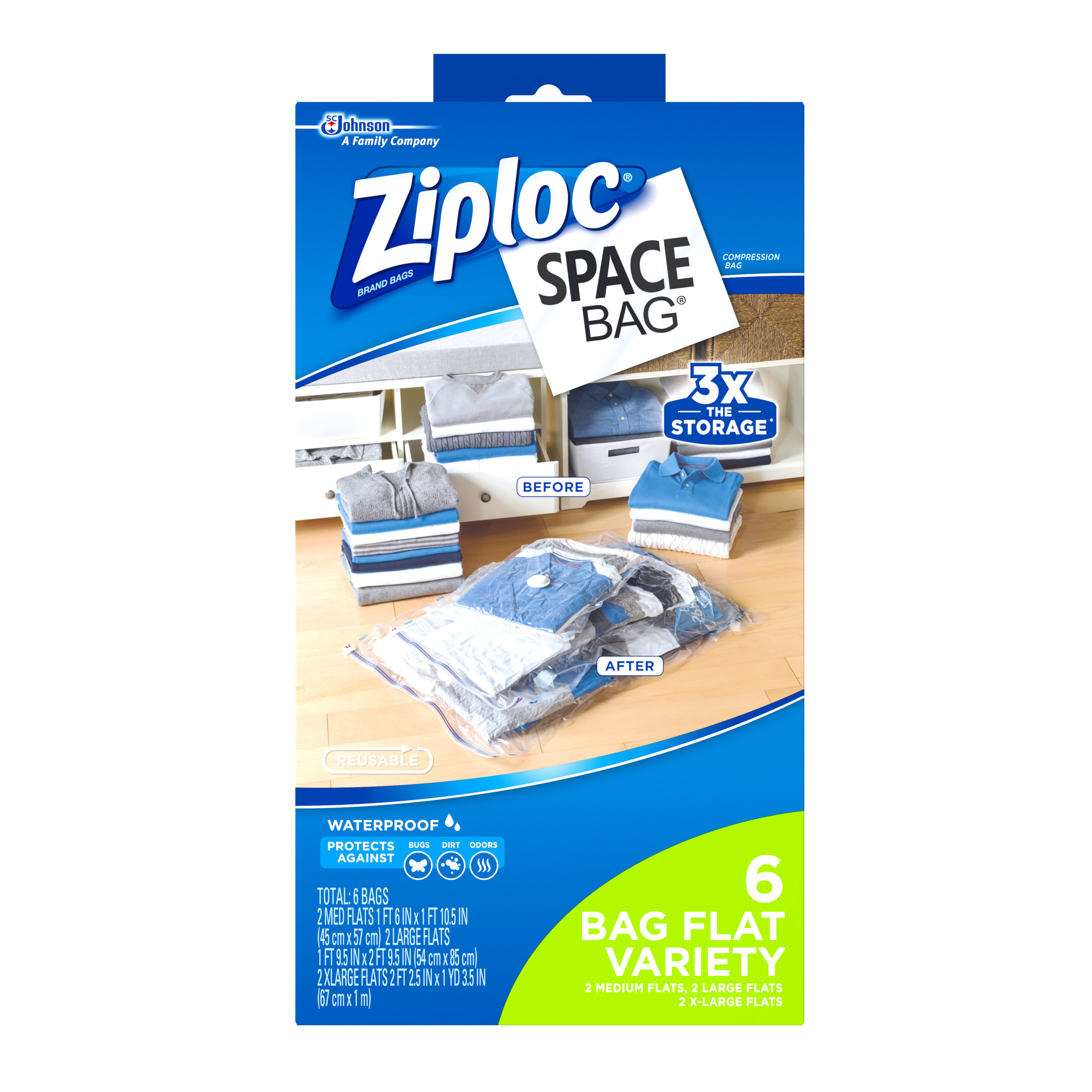 Ziploc Space Bag 6 Count Vacuum Bag: 2 Medium, 2 Large, 2 Extra Large