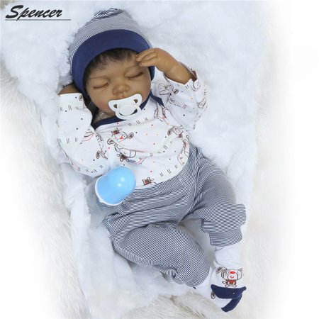 "Spencer 20"" Soft Silicone Reborn Black Baby Dolls Realistic Looking Newborn Toddler Boy Doll Birthday Xmas Gift"
