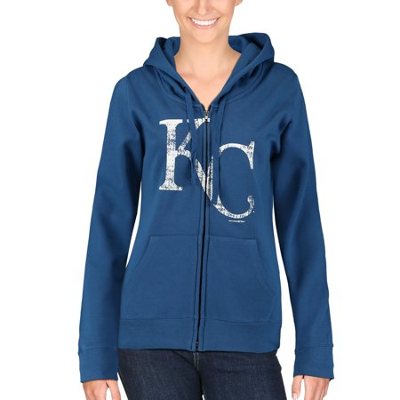 Kansas City Royals 5th & Ocean by New Era Women's Core Fleece Full Zip Hoodie - Royal -