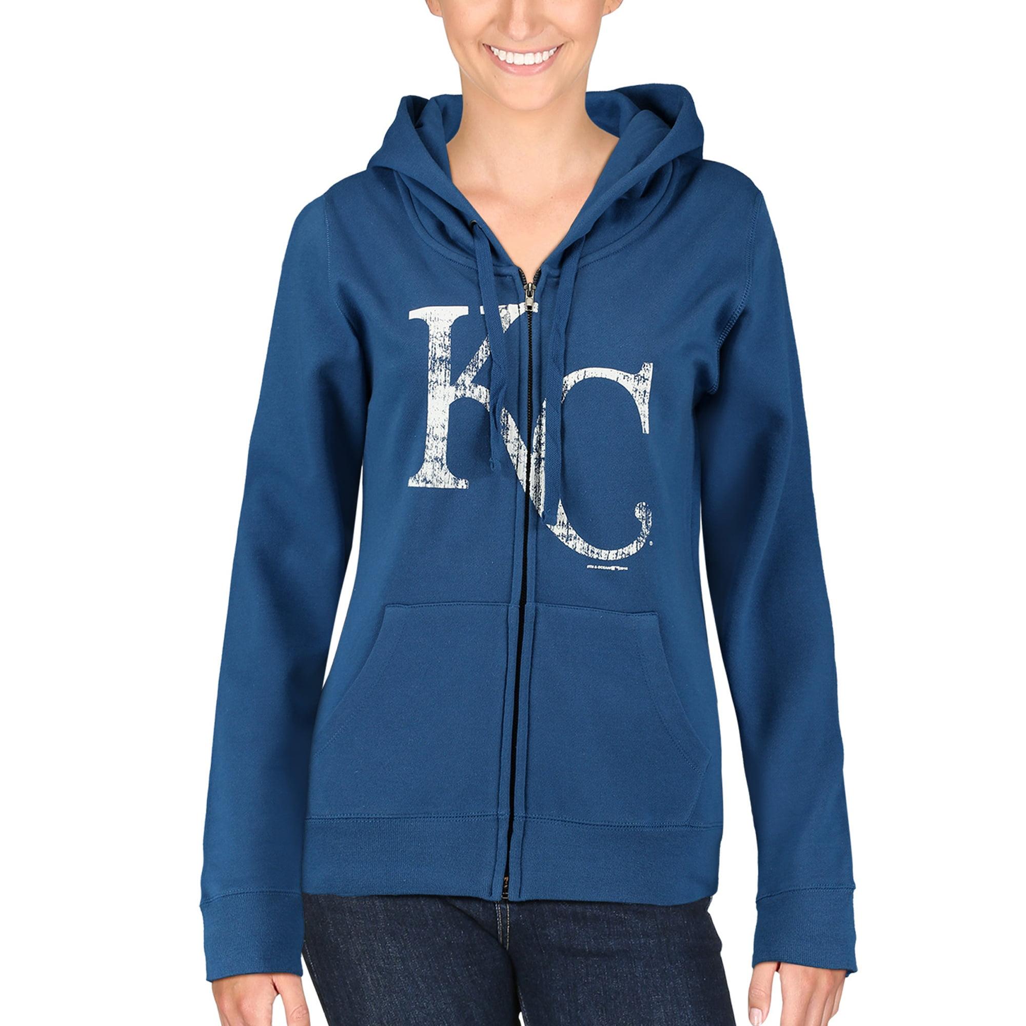 Kansas City Royals 5th & Ocean by New Era Women's Core Fleece Full Zip Hoodie - Royal Blue