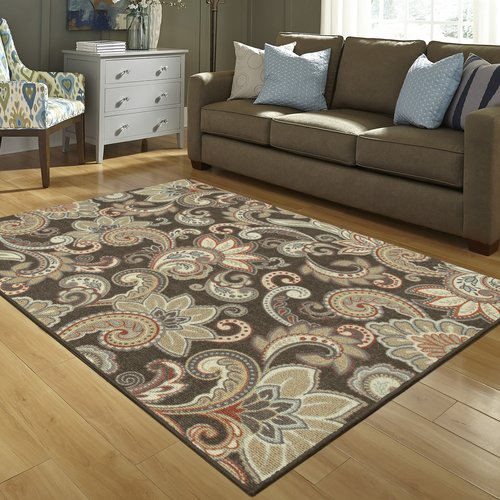 Better Homes and Gardens Brown Paisley Berber Printed Area Rug