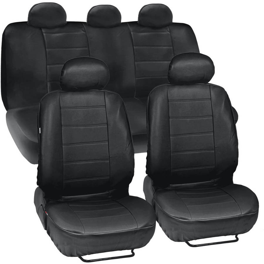 Motor Trend Synthetic Leather Seat Covers for Car and SUV Complete Set, Premium Leatherette, Side Airbag Compatible