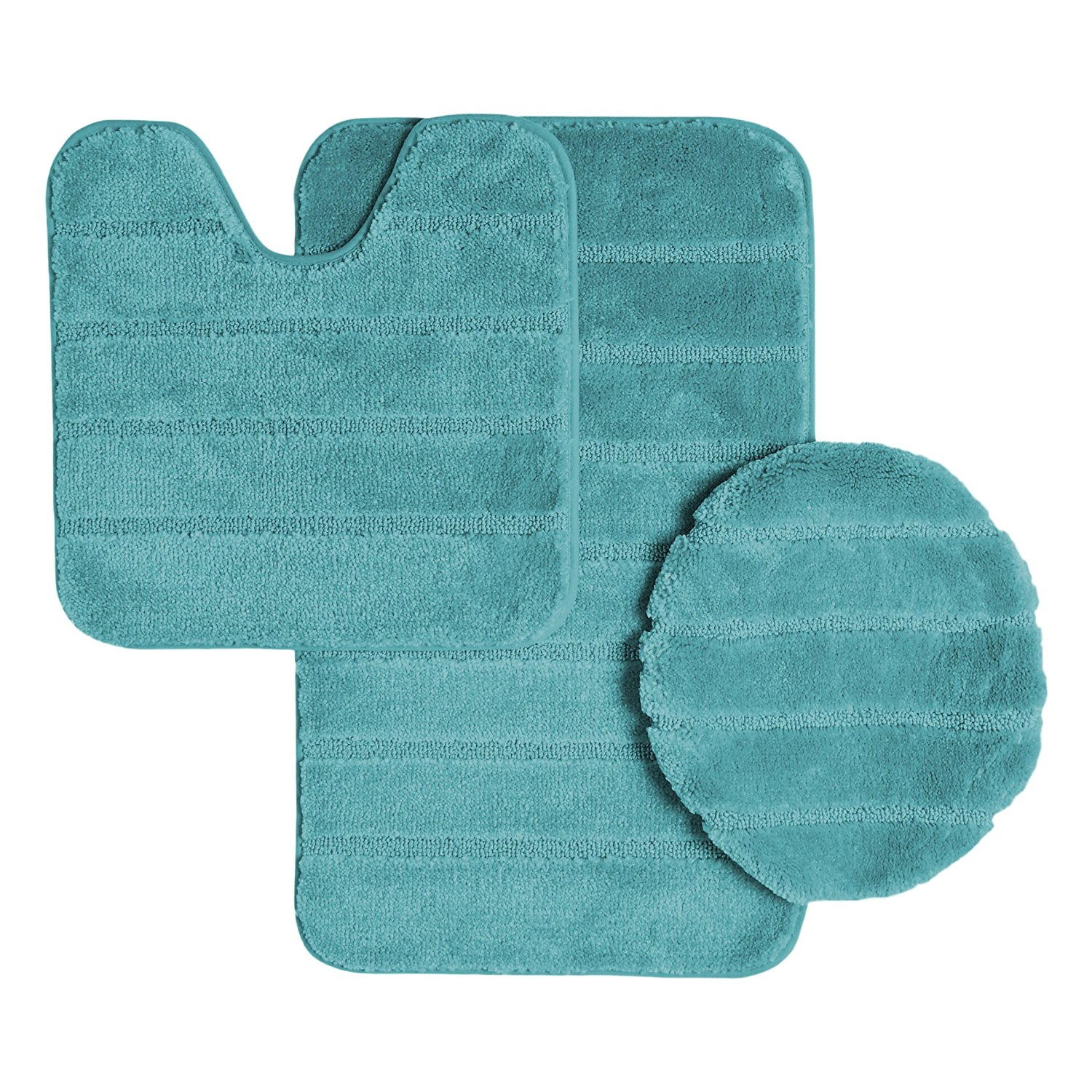 Ribbed Design Soft Pile Solid Color 3 Piece Bathroom Rug Set, Bath Mat, Contour Rug, Universal Lid Cover, Louise (Aqua)