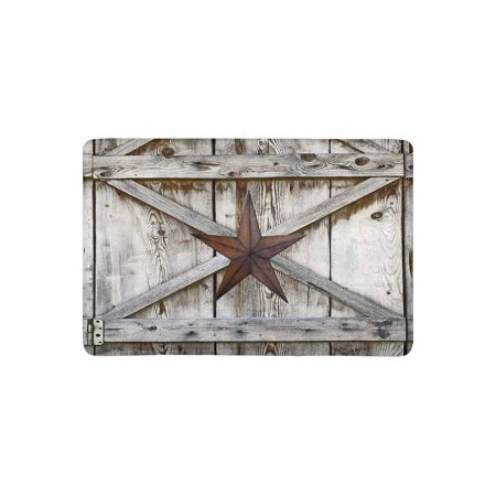 MKHERT Western Texas Star on Rustic Old Barn Wood Doormat Rug Home Decor Floor Mat Bath Mat 23.6x15.7