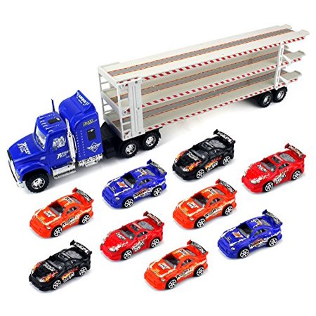 Super Triple Floor Trailer Children's Friction Toy Semi Truck Ready To Run w/ 9 Toy Cars (Colors May (From Straight As To Triple X Trailer)