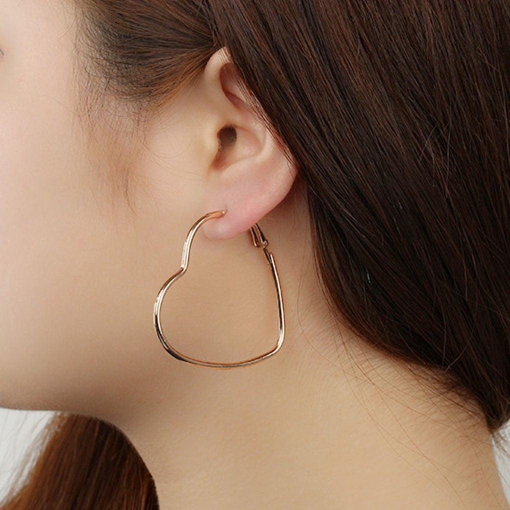 fgyhty Women Girls Exaggerated Hollow Heart Statement Earrings Women Jewelry Hook Dangle Drop Hoop Earings Birthday Gifts