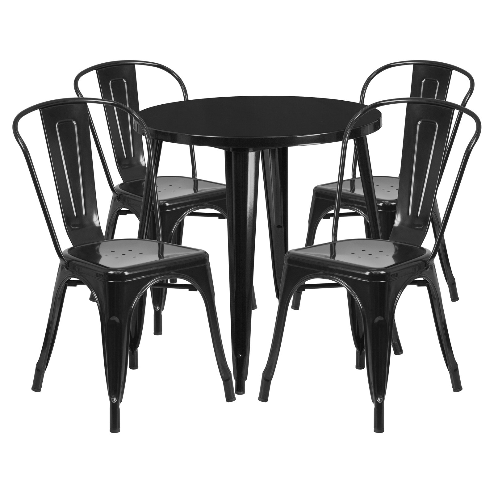 "Flash Furniture 30"" Round Metal Indoor-Outdoor Table Set with 4 Cafe Chairs, Multiple Colors"