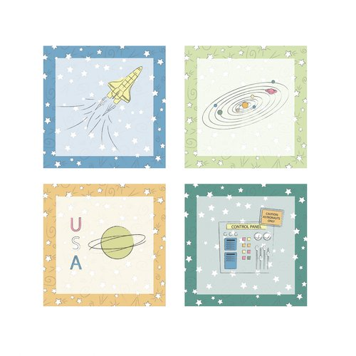 FunDeco Stars and Planets 4 Piece Wall Art Set