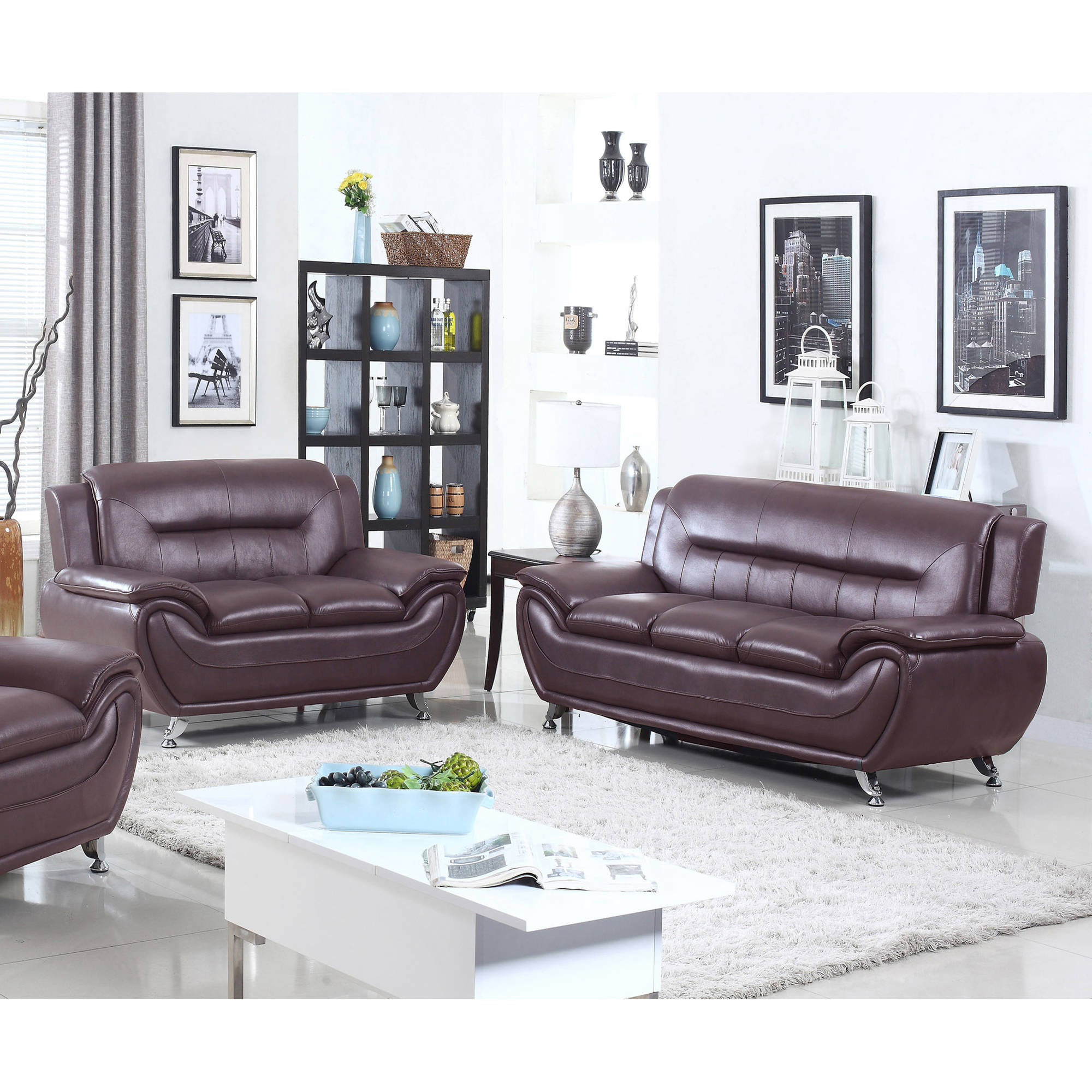 living room sofa and loveseat sets. UFE Norton Dark Brown Faux Leather 2 Piece Modern Living Room Sofa and Loveseat  Set Walmart com