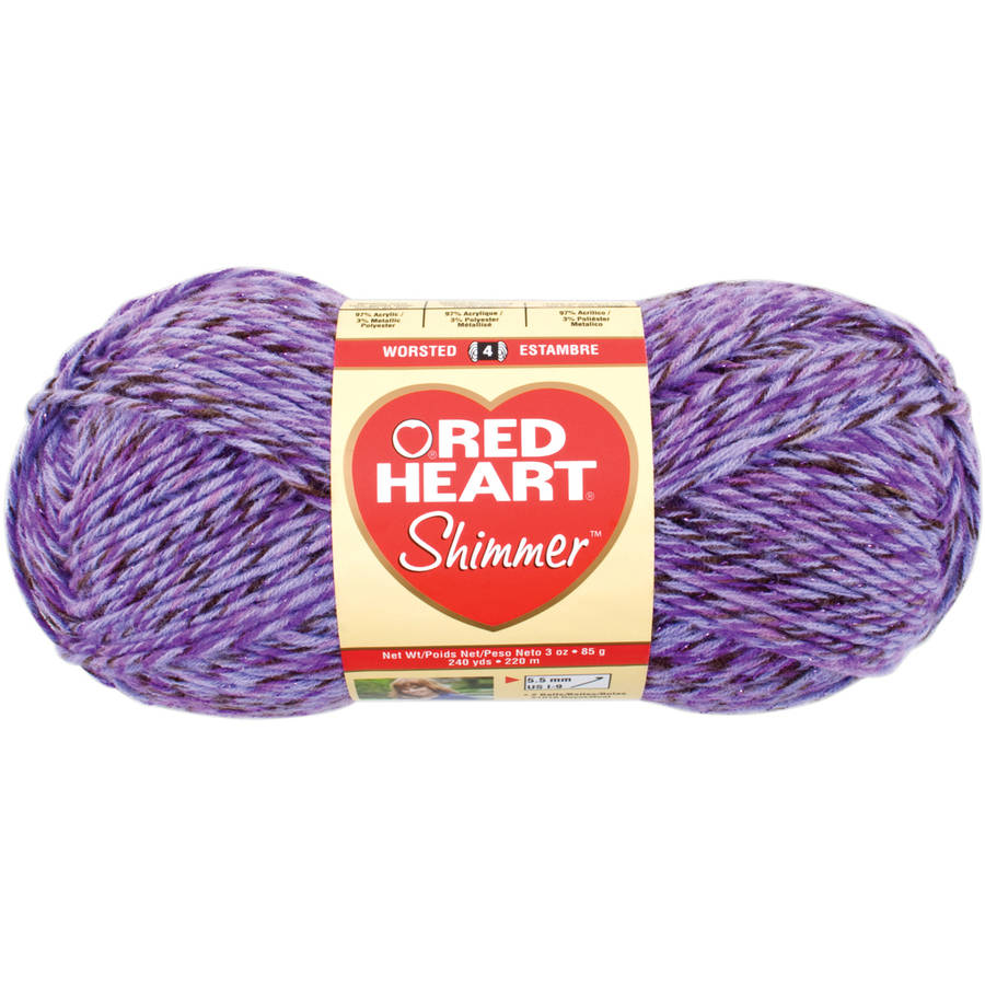 Red Heart Shimmer Yarn, Purple Haze, 3.5 oz Availabe in Multiple Colors