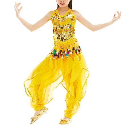 BellyLady Kid Belly Dance Costume, Harem Pants & Halter Top For Halloween-Yellow-L (Ready To Ship Dance Costumes)