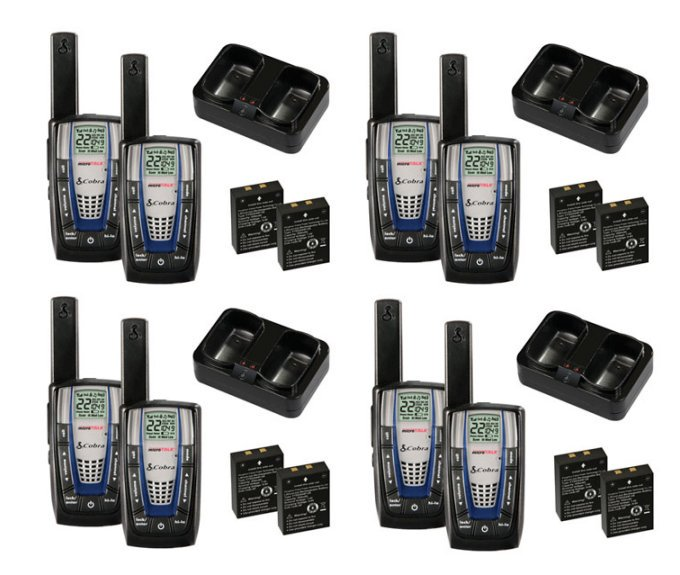 Cobra CXR825 30 Mile 22 Channel FRS GRMS Walkie Talkie 2-Way Radios (4 Pair) by Cobra