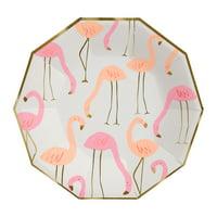 Meri Meri Flamingo Plate Lg , 12ct